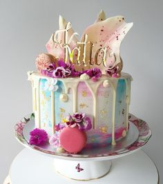 Pastel pink and gold drip cake for Francescas 21st birthday Cakes