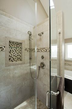 #Shower with custom niche and glass shelves. #bathroom #remodel