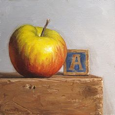 """""""A is for Apple"""" - by Michael Naples ~Oil on board Still Life Photography, Art Photography, Old School House, School Days, Apple Art, Still Life Art, Fine Art Gallery, Art Education, Pomegranate"""