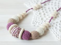 Eco-friendly Crochet Teething Nursing necklace for breastfeeding Mom Sling accessories - Organic beads - earth lilac beige cream colors ------------------------------------------ Handmade crochet nursing necklace / teething necklace is a great gift for nursing moms! This teething