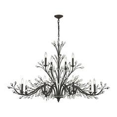Talk about an Elegant light!   Elk Crystal Branches 12 Light Chandelier In Burnt Bronze 11777/8 4