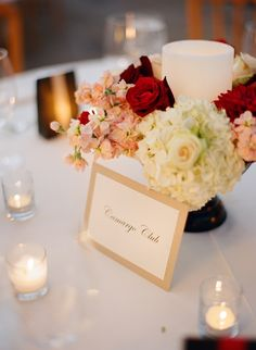 Hydrangea Rose and Candle Reception Centerpiece