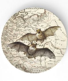 A batty plate for your All Hallows Eve dinner     Idea: decoupage pumpkins image with background of names of differntof pumpkin variety, could do thematic too eg Cinderella Aladdin fairytale.