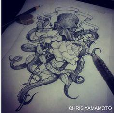 octopus flower sketch tattoo www.instagram.com/christianyamamoto
