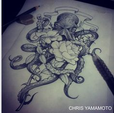 octopus flower sketch tattoo www.instagram.com/christianyamamoto
