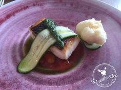 Smoked bass with tomato, courgette and green sauce. One of our many fabulous courses at  Restaurant Nathan Outlaw.