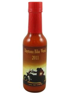 Daytona Bike Week Hot Sauce is a fiery habanero hot sauce made with aged red habaneros, garlic & onion in a vinegar base for a savory tangy flavor that packs a powerfully hot punch. The label celebrates the world's largest motorcycle event, make it a great gift for bikers. Buy on sale for $3.95 here: http://www.carolinasauces.com/Daytona_Bike_Week_Hot_Sauce_2014_p/1257-10.htm