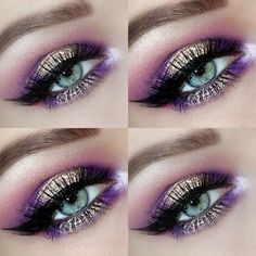 Pink, purple and gold eye makeup