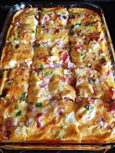 Ingredients: 3 cups frozen hash browns 3⁄4 cup shredded monterey jack pepper cheese 1 cup cubed cooked ham 1⁄4 cup green onion, well chopped 4 well beaten eggs 1 (12 ounce) can evaporated milk 1⁄4 teaspoon black pepper 1⁄2 teaspoon salt To Find Out