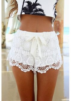 White Plain Drawstring Bow Wavy Edge Lace Shorts - Pants - Bottoms