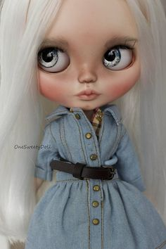 SOLD OUT Tatyana Blythe custom OOAK art doll white hair by