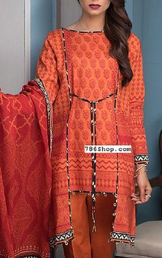 Rust Lawn Suit (2 Pcs) | Buy Zeen Pakistani Dresses and Clothing online in USA, UK