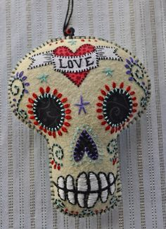 Felt Sugar Skull! Pin cushion For Sheree!