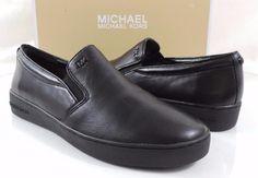 Women's MICHAEL Michael Kors KEATON SLIP ON Sneakers Leather Black Size 9.5 #MichaelKors #Fashionsneaker