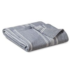 Yarn Dye Striped Blanket in Metallic Blue from Target - ships to Canada! Also in Grey and Pink and Mint