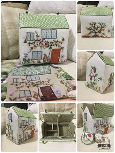 Home sweet Home - Sewing box collection possible jewelry box Felt Crafts, Fabric Crafts, Sewing Crafts, Sewing Projects, Hobbies And Crafts, Diy And Crafts, Fabric Houses, Fabric Buildings, Art Textile