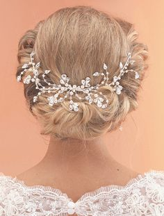 AR512, Handmade Pearl & Crystal Bridal Half Halo by Arianna Tiaras