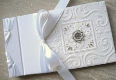 Wedding Guest Book Beaded White Embossed Paper with by Daisyblu