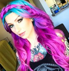 Pink purple braided dyed hair color                                                                                                                                                                                 More