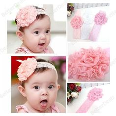2013 Sweet Pretty Baby Girls Infant Lace Flower Headband Hairband Soft Christening