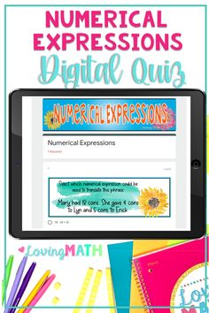 This fifth grade Numerical Expressions quiz is a great tool to assess writing and interpreting numerical expressions. Find out what your students know and collect data to group your students. This test assesses fifth grade place value skills according to the Common Core Standards. (5.OA.2)