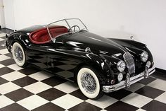 """""""A girl can dream can't she ♥♥  1956 Jaguar Roadster convertible!!  This is hands down my favorite automobile.  So pretty ♥"""" I totally understand... It really is beautiful. S"""