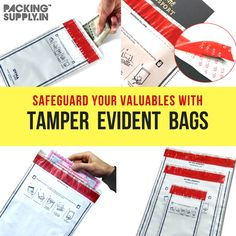 Worried about fraudulent during transit of your important Documents, Cash, Jewelry or valuable items? Get Tamper Evident Envelopes and Security Bags Now from PackingSupply.in for Extra Security. Order Now: Security Bag, Security Envelopes, Important Documents, Packing Supplies, No Worries, Packaging, Social Media, Posts, Stuff To Buy