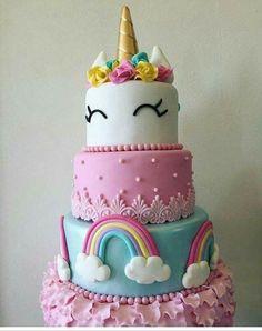 :D Ideas para Tu Fiesta: Unicornio. Cake and Cupcakes Unicorn Birthday Parties, First Birthday Parties, First Birthdays, Birthday Cake, Birthday Ideas, 8th Birthday, Rainbow Birthday, Beautiful Cakes, Amazing Cakes