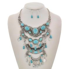 """Turquoise Beaded Necklace Set Burnished Silver Tone / Turquoise Stone / Lead&nickel Compliant / Metal / Fish Hook (earrings) / Charm / Necklace & Earring Set  •   LENGTH : 16"""" + EXT •   EARRING : 1 3/8"""" •   DROP : 7""""  •   SILVER/L.BLUE R.E.A.L Jewelry Jewelry Necklaces"""
