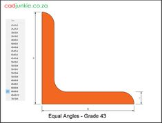 46 2D CAD Blocks: RSA Steel Sections - Angle (Equal Leg) Grade 43 Steel Block Description      Units: mm     AutoCAD 2013 format     To  SABS Tables     Dynamic and uses lookup table to create 46 numbers of2D blocks     Customise by altering the dimensions via the standard AutoCAD properties. Steel Properties, Cad Blocks, Autocad, Angles, Equality, 2d, Numbers, The Unit