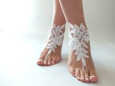 Free Ship ivory white lace Barefoot Sandals by ByMiracleBridal