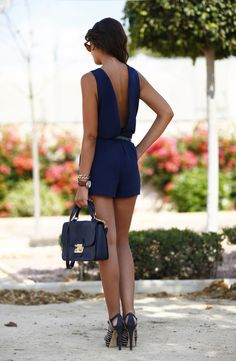 Navy romper   C l a s s y in the city