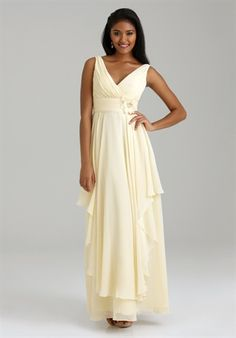 Purple Bridesmaid dress - A line, V-neck, floor length, Chiffon, Tank straps