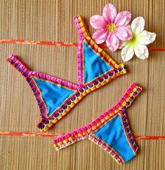 ddf26c666c46 Biquíni Summer Neon Crochê Azul Piscina Colorido Tendência | Moda Praia  Feminina Nunca Usado 33956777