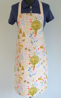 Animals in the Forest Print Adult Oilcloth Apron, PVC Apron, Waterproof Apron by OneLeggedGoose on Etsy