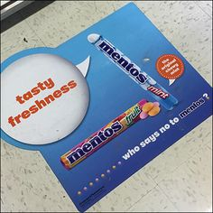 """This Mentos Tasty Freshness Floor Graphic positions and differentiates the product as """"The Original Chewy Mint. Retail Fixtures, Store Fixtures, Speech Balloon, Floor Graphics, Pep Rally, Visual Merchandising, Balloons, Bubbles, Mint"""