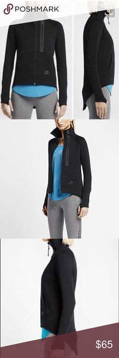 NIKE Moto Cape Fleece Jacket Hoodie BLACK The Nike Tech Fleece Moto Women's Cape is made from lightweight fleece with rib mock neck zips up to the chin for warmth. Exaggerated drop-tail hem for enhanced coverage Articulated raglan sleeves for natural range of motion Kangaroo pocket and bonded zip pocket for versatile storage Elastic cuffs with thumbholes for secure fit. Full-zip mock neck jacket Machine wash Body and Front Lining: 69% Cotton/31% Polyester. Pocket 100% Cotton. It's in…