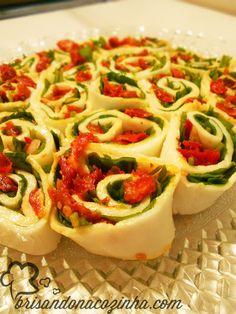 Brisando na Cozinha: Rondelli de búfala com rúcula e tomate seco
