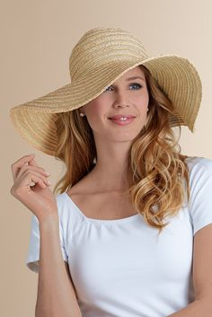 Metallic Raffia Hat from Soft Surroundings. LOVE the big brim for sun  protection and the shimmer the metallic will give 67e2bca4d134