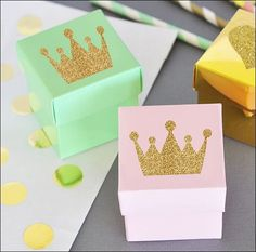 Favor boxes fit for a princess with a gold glitter tiara! So glam for a baby girl shower or birthday party in your choice of nine decorative colors. A royal way to package candy treats for your guests