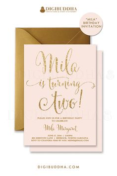 Blush pink gold glitter sparkle confetti second birthday invitations. Ready made 2nd birthday invitations printed invitations on shimmer paper, or thick signature card stock or basic card stock, or choose printable pink & gold invitations. Gold shimmer envelope also available, at digibuddha.com
