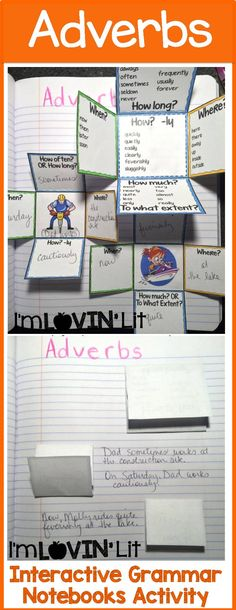 Adverbs Interactive Notebook Activity, Foldable, Organizer, Lesson