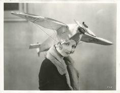 1930: Alice White Wearing an Aeroplane Hat (Retronaut)
