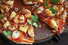 Chilli Prawn & Pineapple Pizzas Recipe - Taste.com.au Prawn Pizza, Seafood Pizza, Pizza And Beer, Pizza Pizza, Chilli Prawns, Flatbread Recipes, Pizza Recipes, Cooking Recipes, Savoury Recipes