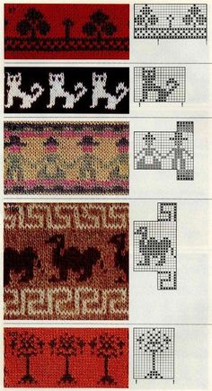 KUFER with artistic handicraft: 1000 jacquard knitting patterns Motif Fair Isle, Fair Isle Chart, Fair Isle Pattern, Knitting Charts, Knitting Stitches, Knit Or Crochet, Filet Crochet, Knitting Designs, Knitting Projects