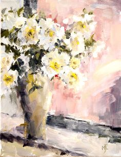 White and Yellow Flowers, oil on canvas, 40x30cm, 16x12in