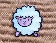 "Cute Sheep Patch. Iron on Patches for Jackets & Backpacks. 3"" Cute Animal Patches. Kawaii Punk Cute Tumblr Cartoon Anime Patches."