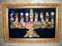 Amazing menorah made of junk vintage jewelry.now accepting broken junk jewelry! a Christmas tree with vintage jewelry instead Hanukkah Crafts, Jewish Crafts, Hanukkah Decorations, Hanukkah Menorah, Hannukah, Happy Hanukkah, Jewish Art, Holiday Crafts, Holiday Fun