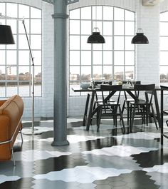 Black & white hexagon kitchen floor tiles