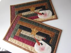 Snowman Quilted Mug Rugs by thePATchworksshop on Etsy, $20.00